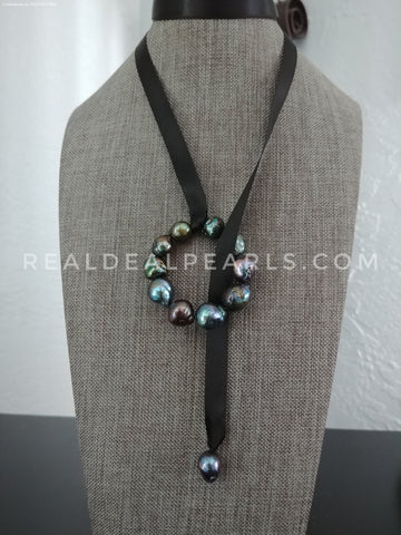 Aurora Ripple Black Satin Ribbon Lariat