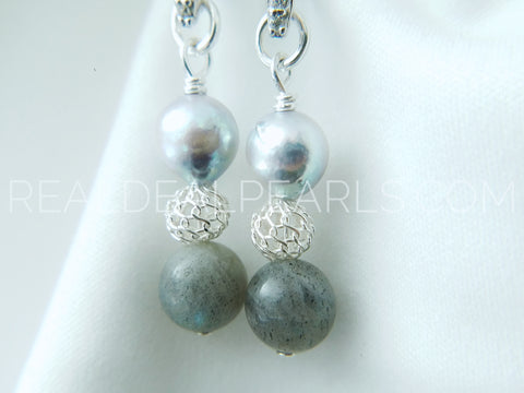 Intuition | Labradorite and Cultured Akoya Earrings