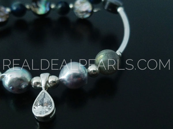 Intuition | Labradorite and Cultured Akoya Wrap Bracelet