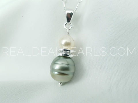 One of a Kind | Cultured Pistachio Tahitian & Akoya Pearl Pendant Necklace