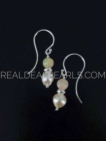 Ethiopian Fire Opal and Cultured Akoya Pearl Argentium Hook Earrings