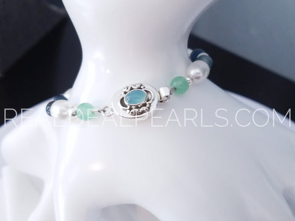 "7.5"" Cultured South Sea and Aventurine Bracelet with Chalcedony Box Clasp"