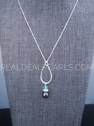 "28"" Adjustable Aventurine and Cultured Tahitian Necklace"