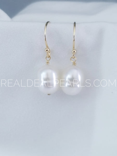 14K Yellow Gold Hook Earrings with Cultured South Sea Pearls