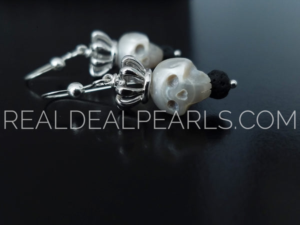 Carved Cultured Freshwater Pearl Skull Earrings
