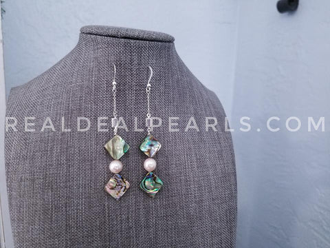 Akoya and Abalone CZ Baguette Drop Earrings