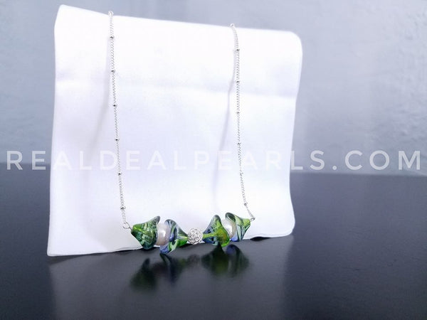 Czech Glass and Akoya Sterling Silver Satellite Necklace