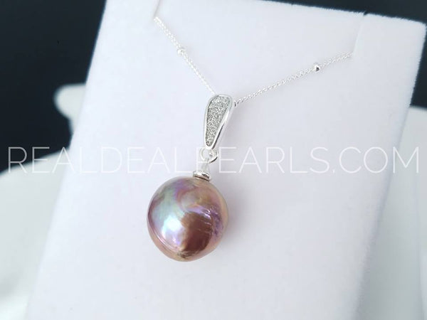Iris | Cultured Ripple Pearl Stardust Pendant Necklace