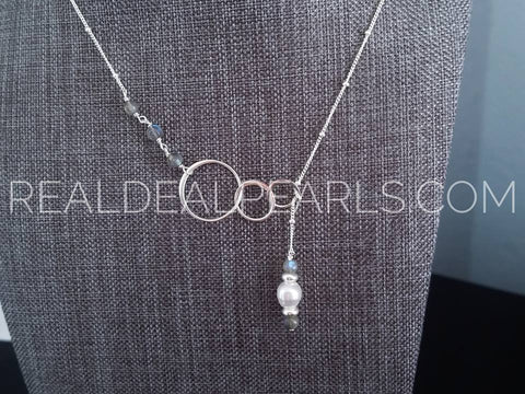 Magician | Labradorite and Cultured South Sea Lariat Necklace