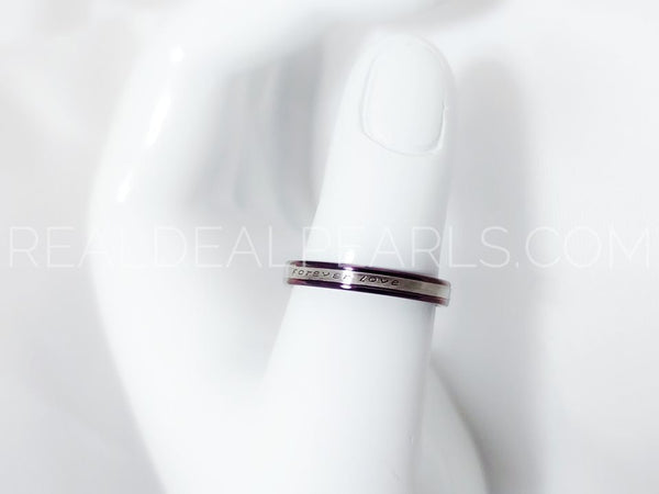3mm | Purple Stainless Steel 2-tone Forever Love Comfort Fit Half-Round Band Ring*LRC440- 6