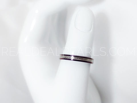 3mm | Purple Stainless Steel 2-tone Forever Love Comfort Fit Half-Round Band Ring*LRC440- 7