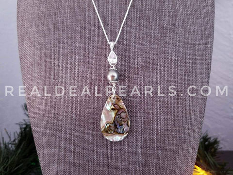 Abalone and Cultured Tahitian Pendant Necklace