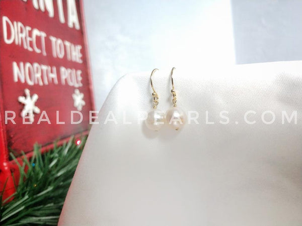 14K Yellow Gold Hook Earrings with Cultured Akoya Pearls