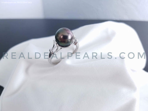 Day Dreamer | Sterling Silver Ring with 9-10mm Cultured Tahitian