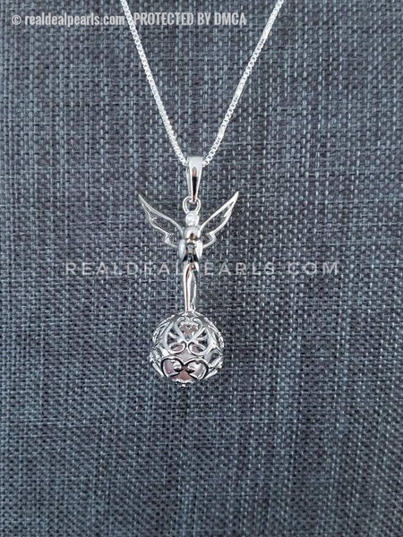 Faith Triumphant Angel Sterling Silver Cage Necklace