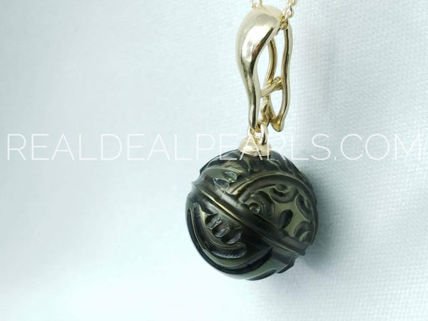 One of a Kind | 14K Tattoo Tahitian Pendant Necklace