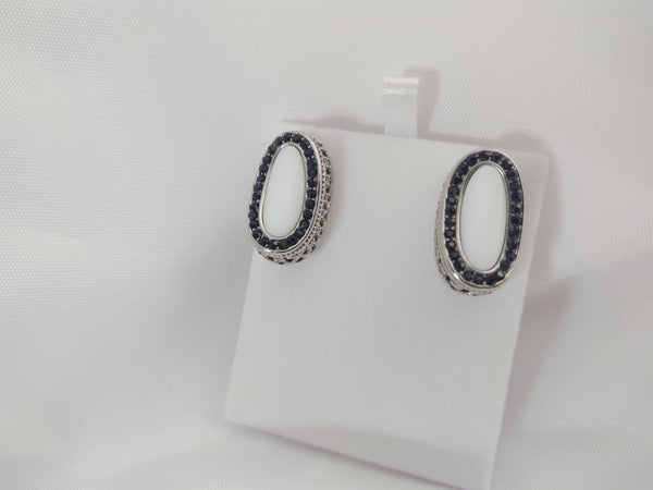 Steel Black CZ Earrings