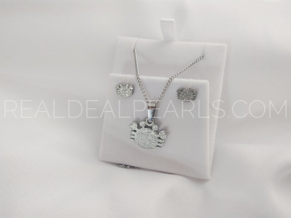 Steel Sand Blasted Crab Necklace and Stud Earring Set