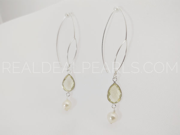 Sterling Silver Threader Earrings Solid with Lemon Quartz and Cultured Akoya Pearls