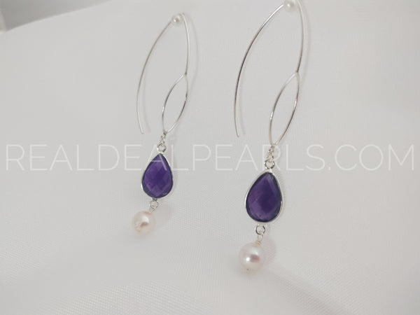 Sterling Silver Threader Earrings Solid with Amethyst and Cultured Akoya Pearls