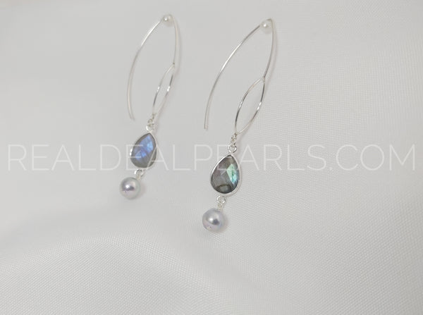 Sterling Silver Threader Earrings Solid with Labradorite and Cultured Akoya Pearls