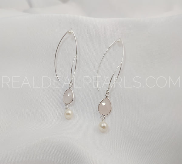 Sterling Silver Threader Earrings Solid with Rose Quartz and Cultured Akoya Pearls