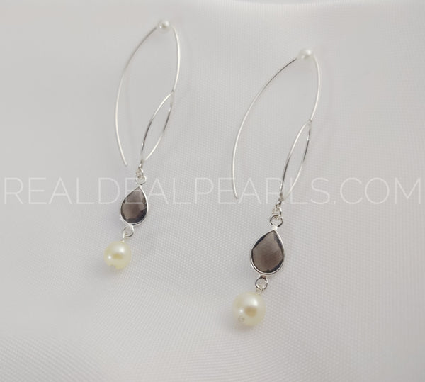 Sterling Silver Threader Earrings Solid with Smoky Quartz and Cultured Akoya Pearls