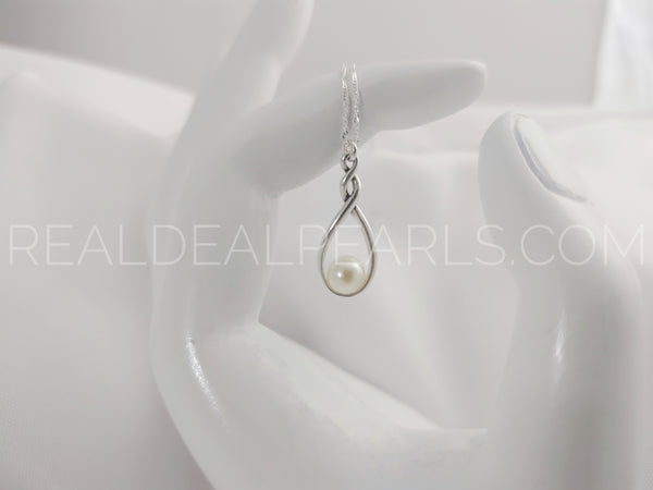 Sterling Silver Infinity Pendant Necklace with Sterling Silver Singapore Chain and Cultured Akoya Pearl