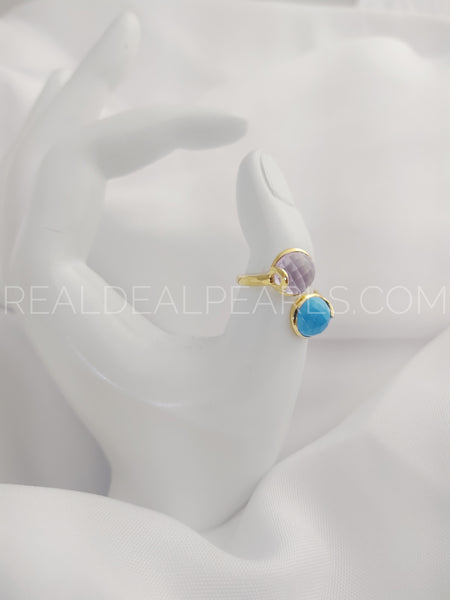 18KYG Vermeil Amethyst and Turquoise Size 7 Ring