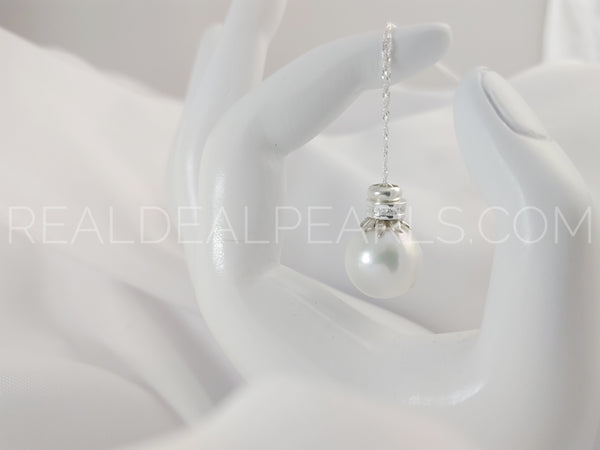 Sterling Silver Necklace with Bead Nucleated Cultured Freshwater Pearl with CZ Roundell on Sterling Silver Singapore Chain