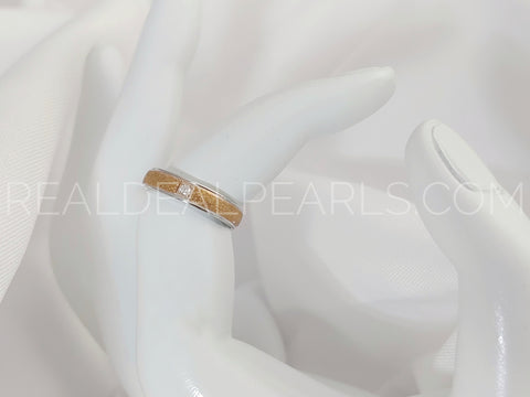 Sz 6 4mm | Stainless Steel 2-tone Sandblasted Comfort Fit Half-Round Band Ring w/ Clear CZ*RWS033- 6