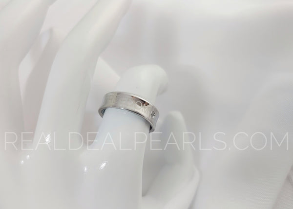 Sz 7 6mm | Stainless Steel Freedom Monogram Comfort Fit Concave Band Ring w/ Clear CZ*ERN092- 7