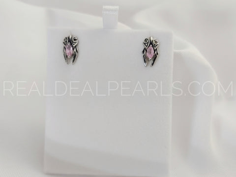 Stainless Steel 2-tone Tribal Flame Stud Earrings w/ Rose Pink CZ (pair)*JES132