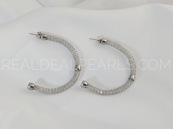 Stainless Steel Puffy Mesh Half Hoop Stud Earrings (pair)*ECZ089