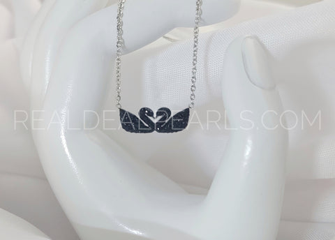 Stainless Steel In Love Swan Charm Chain Necklace w/ Jet Black CZ*MPV365