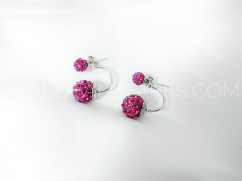6mm&10mm Argil Disco Shamballa Balls w/ Pink Red CZ | Stainless Steel Double Side Stud Earrings (pair)*EEZ117