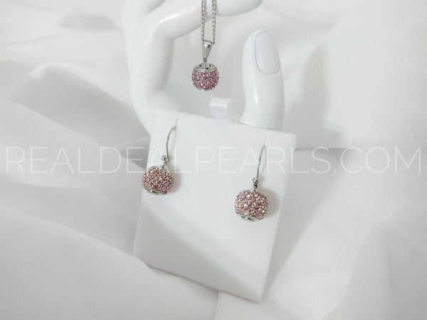 Stainless Steel Micro Pave Bead Ball Charm Pendant & Pair of Long Drop Hook Earrings w/ Rose Pink CZ Necklace (SET)*SSW019