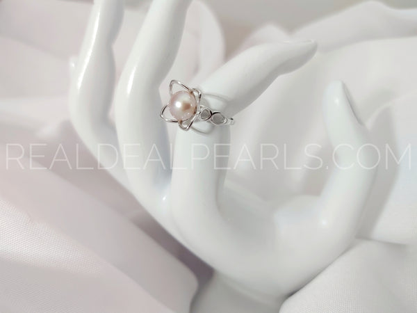 Size 5 Sterling Silver Petals With Ring with Cultured Freshwater Pearl