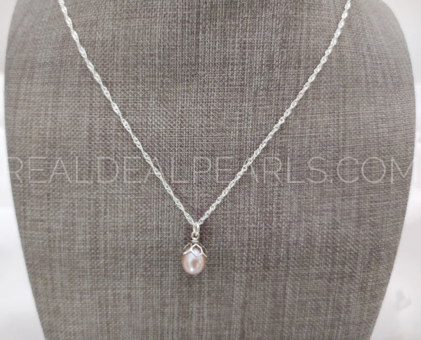 Sterling Silver Honeycomb Cultured Freshwater Pearl Pendant Necklace 20""