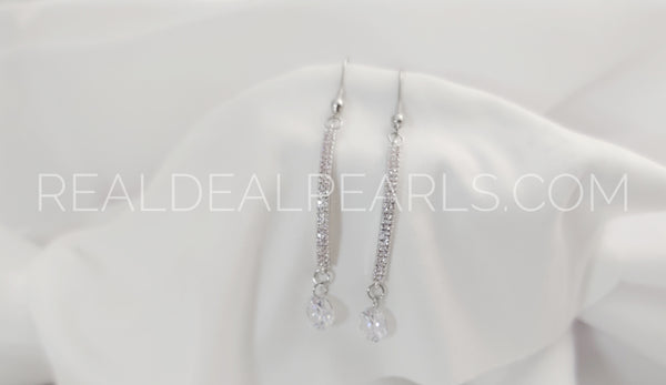 Stainless Steel Long Teardrop Hook Earrings (pair) w/ Bar Copper Charm & Clear CZ*REB124