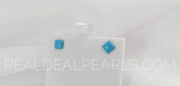 Steel Blue Square/Diamond Stud Earrings