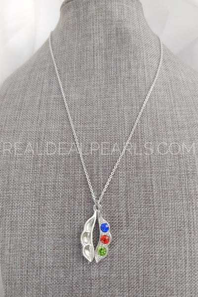 Stainless Steel Peanut Bean Charm Chain Necklace w/ Colorful CZ*CAT678