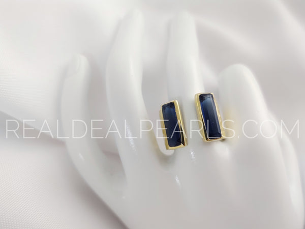 Sz 8 14K Yellow Gold Vermeil Blue Open Chunky Ring