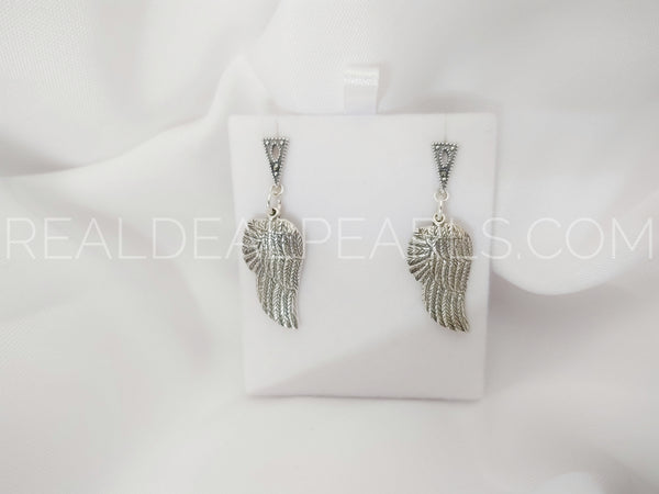 Sterling Silver 6.1x11.2mm Marcasite Set Tri Post Earrings with Sterling Silver Angel Wings (1 Pair)