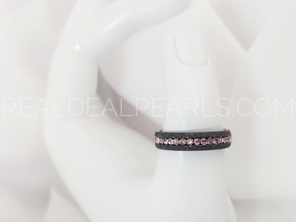 Sz 11 5mm | Black Stainless Steel Sandblasted Channel-Set Eternity Engagement Wedding Band Ring w/ Rose Pink CZ*TRM094- 11