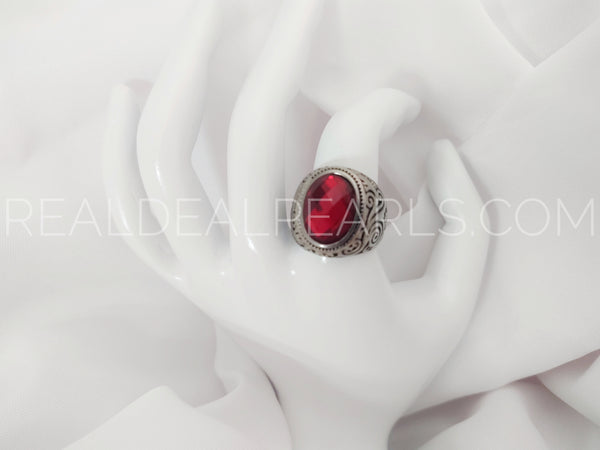 Stainless Steel 2-tone Bezel-Set Oval Spiral Vine Cocktail Ring w/ Faceted Light Siam Red CZ*RBR383- 8