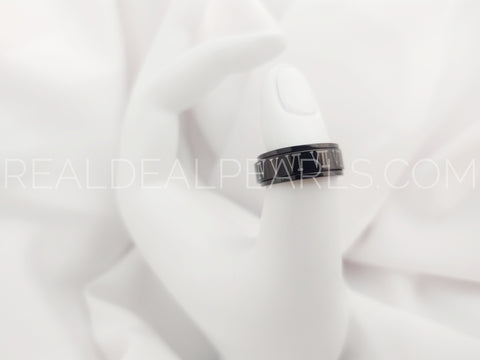 8mm | Black Stainless Steel 2-tone Roman Numeral Spinning Band Ring*RSB007- 6