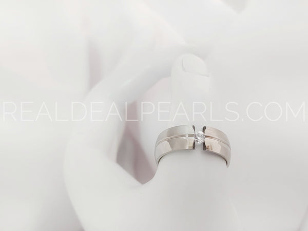 Sz 11.5 8mm | Stainless Steel Polish Finished Grooved Tension-Set Half-Round Band Ring w/ Clear CZ*RTH326- 11.5