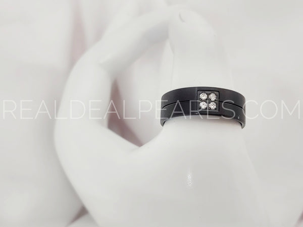 Sz 11 8mm | Black Stainless Steel Center Groove Comfort Fit Half-Round Band Ring w/ Clear CZ*VRR524- 11