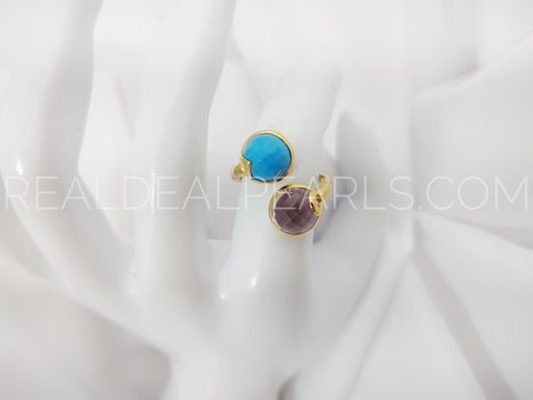 18KYG Vermeil Amethyst and Turquoise Size 8 Ring